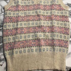 Vintage hunt club pink/blue wool vest size Large
